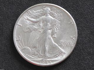 1945 - P Liberty Walking Half Dollar 90% Silver U.  S.  Coin D6506 photo