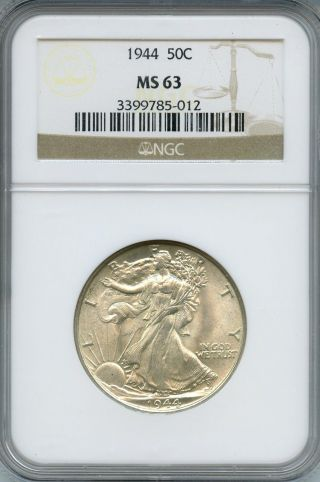 1944 Liberty Walking Half Dollar Ms 63 | Ngc Graded photo