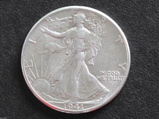 1941 - P Liberty Walking Half Dollar 90% Silver U.  S.  Coin D6527 photo