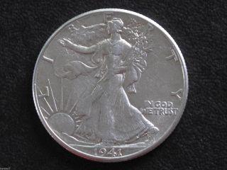 1941 - P Liberty Walking Half Dollar 90% Silver U.  S.  Coin D6545 photo