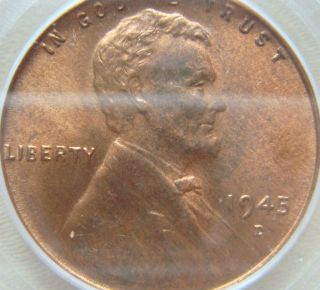 1945 - D Lincoln Cent Pcgs Ms64rd - photo
