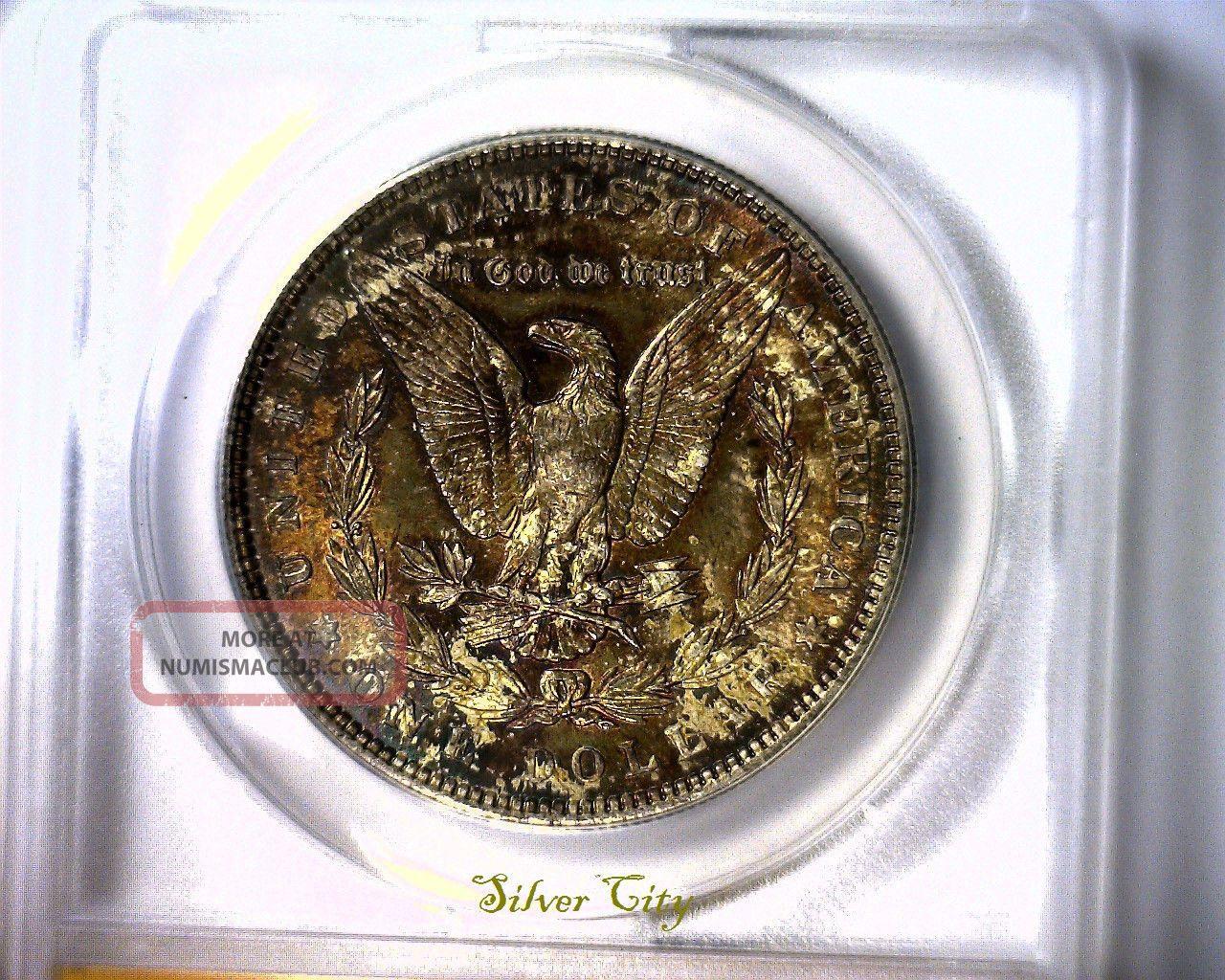 Ms63 Anacs Beautifully Toned 1887 Morgan Silver Dollar U