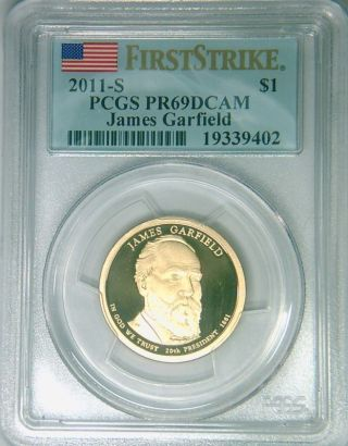 2011 - S Pcgs Pr69dcam Proof Garfield Dollar First Strike photo