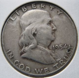 1954 D Franklin Half Dollar Very Fine Circulated,  (90 % Silver) photo