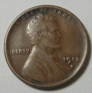 1913 - S Lincoln Wheat Cent Penny Higher Grade Brown photo