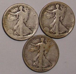 1917,  1917 - S,  1918 - S,  1920 - S & 1933 - S Walking 50 Cent Half Dollars photo