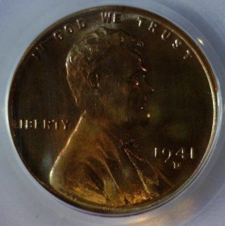 1941 - D,  Pcgs Ms - 67 Red Brown,  Lincoln Wheat Cent,  Beautifull Patina Great Price photo
