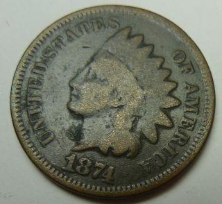 1874 Philadelphia Indian Head Cent photo