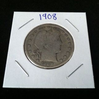 1908 Barber 90% Silver Half Dollar.  900 Fine Silver & Usa photo