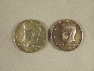 2 1968 D Kennedy Half Dollars 40% Silver photo
