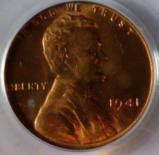 1941,  Pcgs Ms - 66 Red,  Lincoln Wheat Cent photo