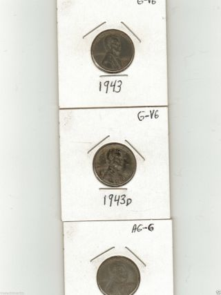 1943,  1943d,  1943s Lincoln Steel Cents (3) photo
