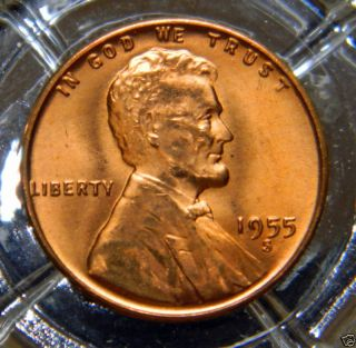 Bu/rd 1955 - S Lincoln Wheat Back Cent. . . .  8157 photo