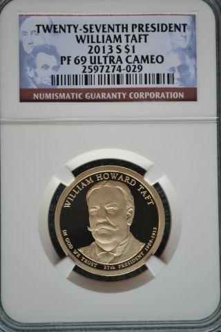 2013 - S William Taft Presidential Golden Dollar Ngc Pf69 Ultra Cameo photo