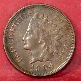 Indian Head Cent 1904 Almost Uncirculated +++ photo