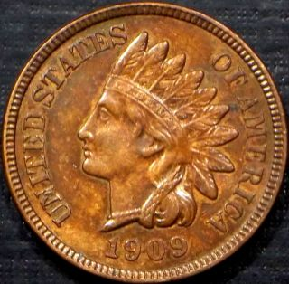 Scarce 1909 Indian Head Cent R/b,  Bu,  Ms,  Ms Full Liberty + 4 Diamonds photo