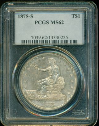 1875 - S Trade Silver Dollar - Pcgs Ms62 - Awesome Coin photo