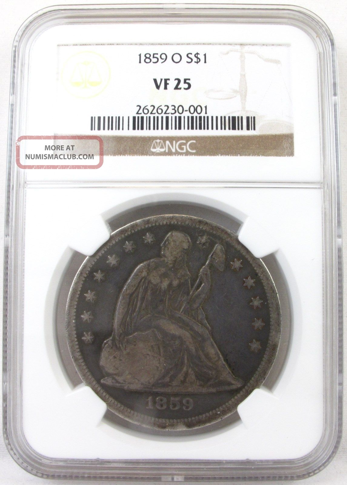 1859 - O Seated Liberty $1 Dollar Vf25 Ngc Certified Very Scarce,  Low Mintage Dollars photo