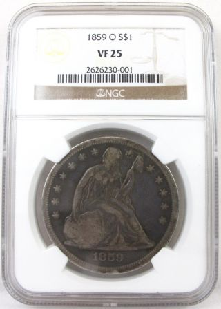 1859 - O Seated Liberty $1 Dollar Vf25 Ngc Certified Very Scarce,  Low Mintage photo