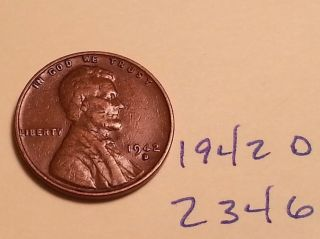 1942 D Lincoln Cent Fine Detail Wheat Back (853) photo
