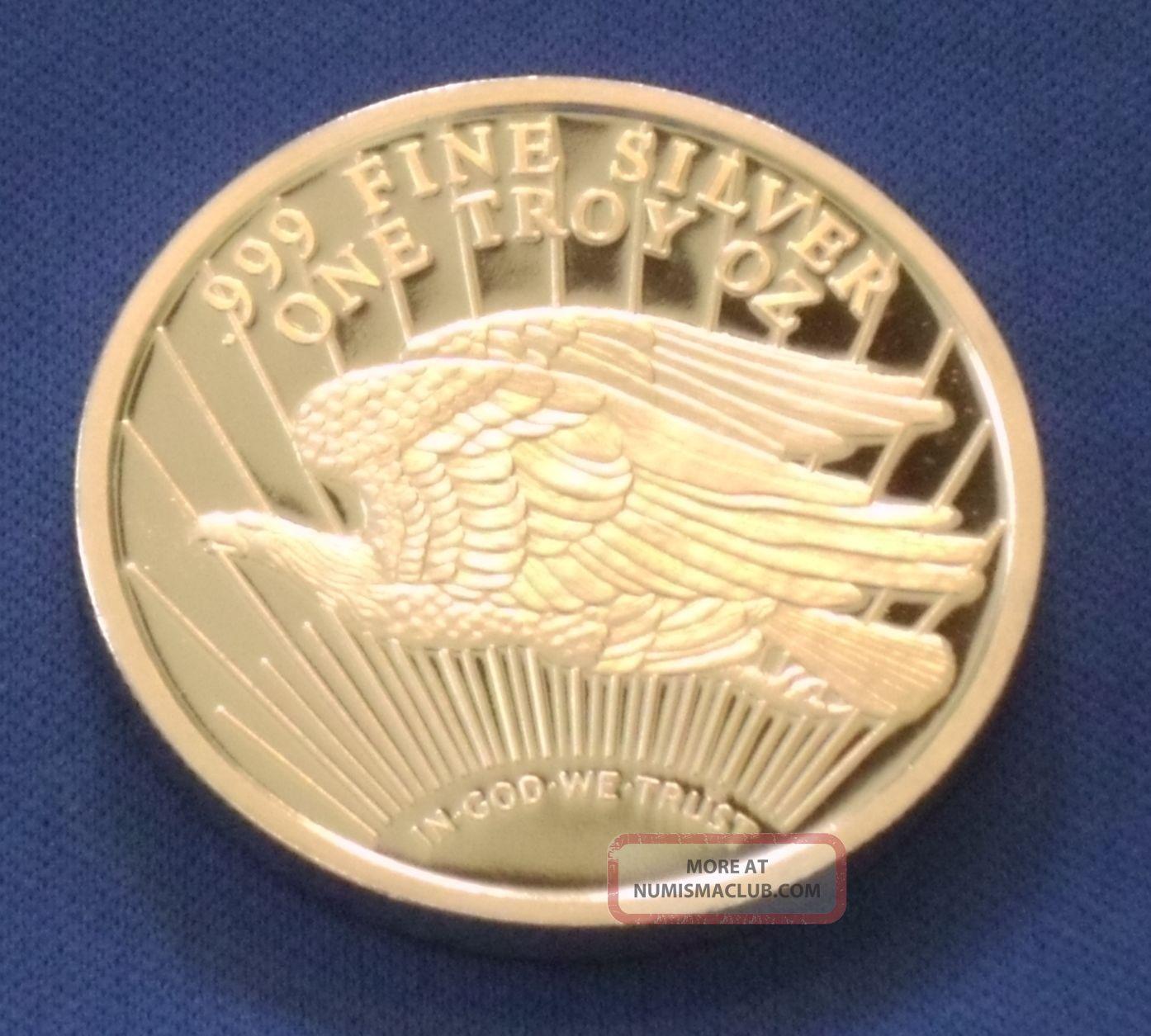 1927 Ultra Cameo Saint Gaudens Double Eagle Design 1 Oz.  999 Silver Bullion Rnd Silver photo