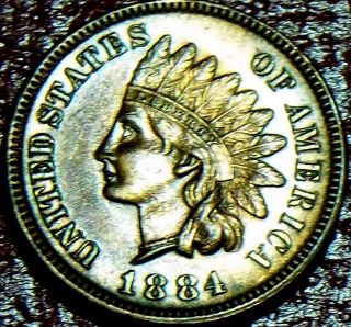 Key Date 1884 Indian Head Cent R/b 95% Red Bu,  Ms,  Ms Full Liberty + 4 Diamonds photo