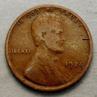 Very Good 1924 - P Lincoln Wheat Back Cent. . . .  10617 photo