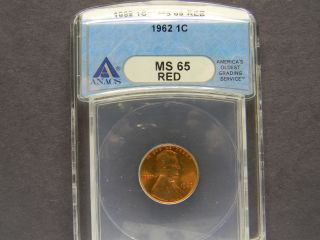 1962 Ms - 65 Red (anacs) Lincoln Penny photo