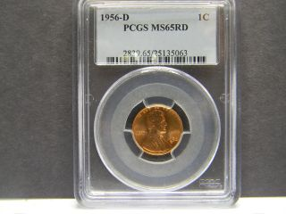 1956 - D Pcgs Ms65rd Lincoln Penny photo