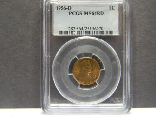 1956 - D Pcgs Ms64rd Lincoln Penny photo