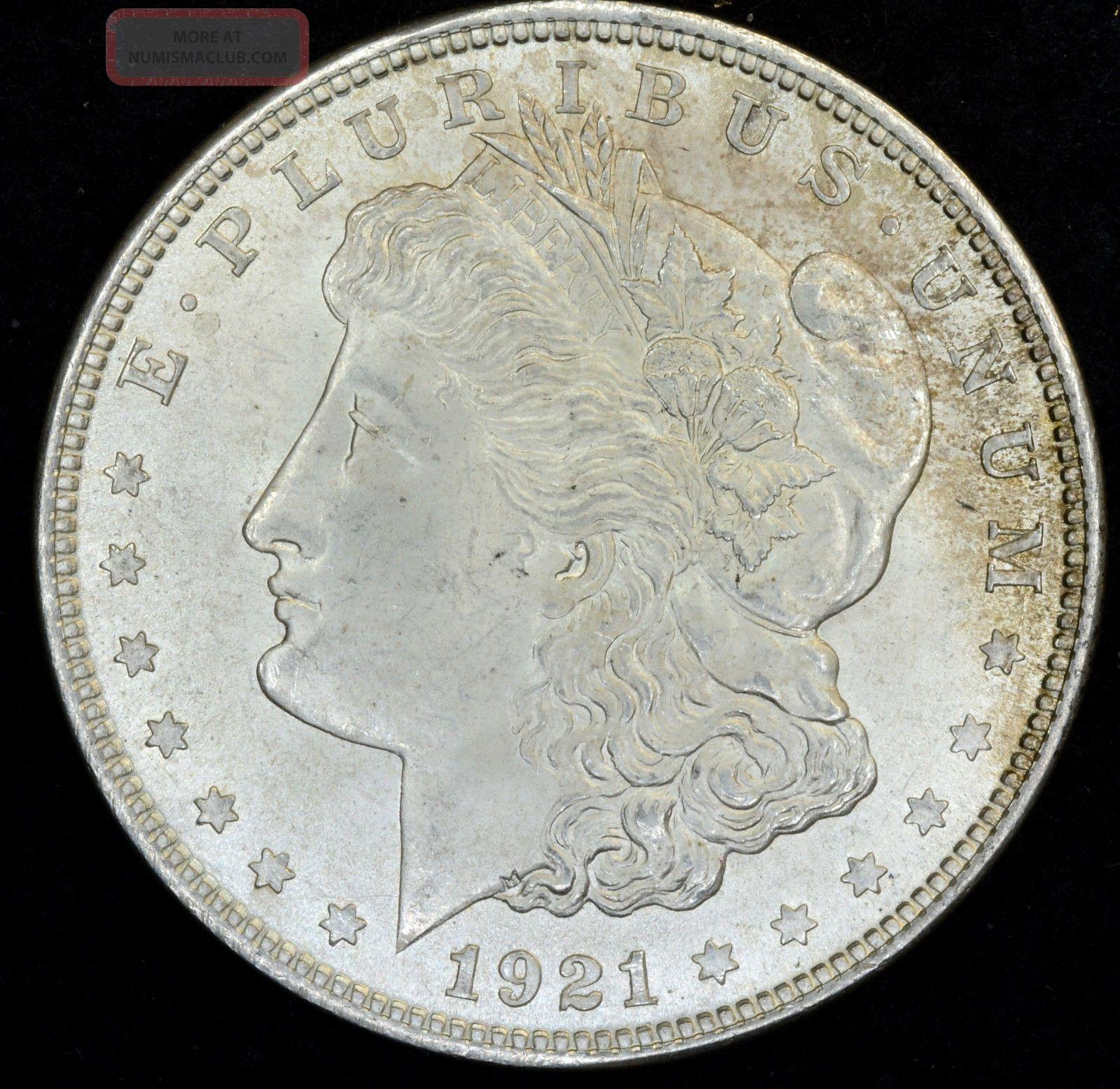1921 1 Morgan Silver Dollar Unc With Toning 317