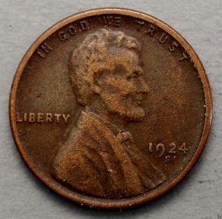 Very Fine+ 1924 - S Lincoln Wheat Cent. . . . . . . .  10619 photo