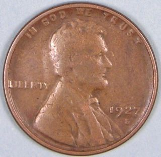 1927 S Lincoln Wheat Penny,  Less Than 15 Million Made,  Jb 433 photo