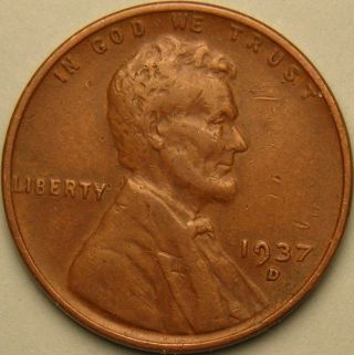 1937 D Lincoln Wheat Penny,  Ae 274 photo