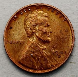 About Uncirculated 1941 - D Lincoln Wheat Back Cent. . . . .  10621 photo