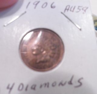 Vintage Antique 1906 Inidian Head Cent 4 Diamonds Full Liberty photo