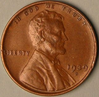 1939 D Lincoln Wheat Penny,  Less Than 16 Million Made,  Aa - 520 photo