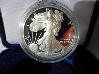 1998 ' P ' Proof American Silver Eagle Complete W/box & C.  O.  A.  Ships Today photo