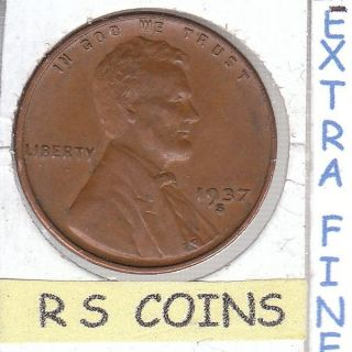 1937 S Extra Fine Lincoln Cent Coin {fast Ship} Coin 3867 photo