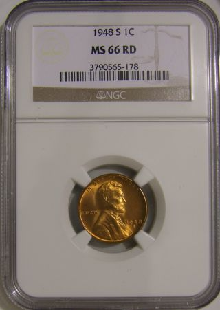 1948 S Lincoln Wheat Penny,  Ngc Ms66 Red,  Ah 150 photo