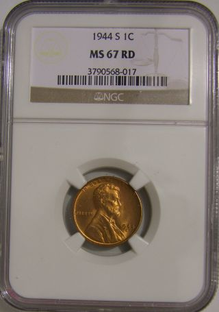 1944 S Lincoln Wheat,  Ngc Ms 67 Red,  Ah 094 photo