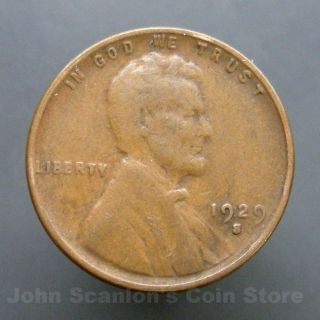 1929 - S Lincoln Wheat Cent 1c Circulated Us Coin Fine photo