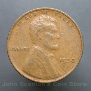 1930 Lincoln Wheat Cent 1c Circulated Us Coin Fine photo