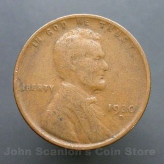 1930 - D Lincoln Wheat Cent 1c Circulated Us Coin Fine photo