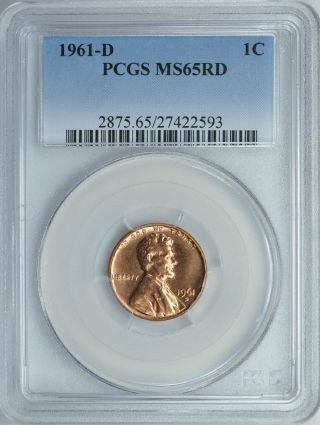 1961 - D Lincoln Memorial Cent 1c Pcgs Ms65rd photo