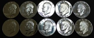 1776 - 1976 Bicentennial Eisenhower Proof Silver Dollars 10 In Coin Flips photo