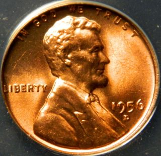 1956 D Lincoln Cent,  Anacs Ms 66 Red photo