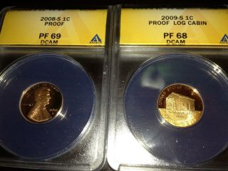 2008 S And 2009 S Lincoln Proof Penny Anacs Graded photo