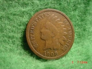 1908 Indian Head Cent,  Very Good+ photo