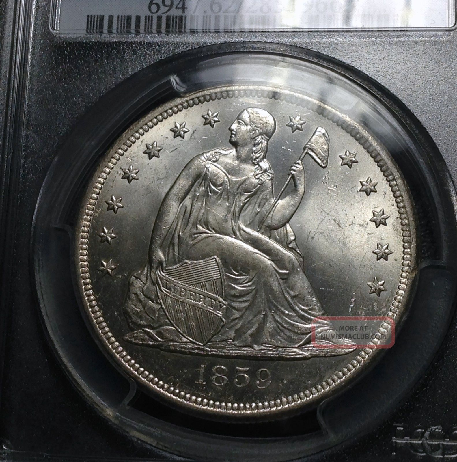 1859 O Pcgs Ms - 62 Seated Liberty Dollar Dollars photo